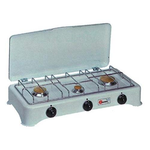 Fornello 3 fuochi a gas (GPL) Parker - griglia in acciaio cromato